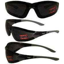 ANTI FOG Padded Motorcycle Riding Glasses Sunglasses-SMOKED Lens-FREE POUCH
