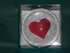 Nib Acrylic Paper Weight With Red Heart In Center