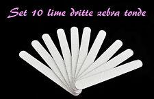 SET 10 LIME 120/180 DRITTE ZEBRA TONDE RICOSTRUZIONE UNGHIE KIT GEL UV