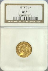 NGC MS61 1915 $2.5 Indian Head Gold Coin.! BU.!