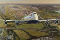 Boeing 747 British Airways Airliner Heathrow Plane Aviation Painting Art Print