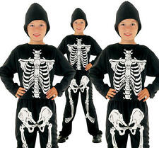 Childrens Kids Skeleton Fancy Dress Costume Halloween Boys Girls Outfit S