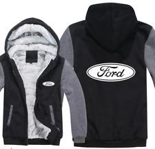 Ford Automobile Kapuze Reißverschluss Jacke Mantel Winter Warm Schwarz und Grau