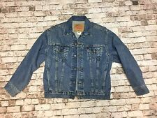 Vintage Levi's Denim Blue Jean Trucker Jacket button Boys Large Women M
