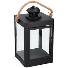 Metall Laterne #2 Seil Griff Windlicht Kerze Deko - Farbe Schwarz