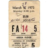 LINDA RONSTADT & NEIL YOUNG Concert Ticket Stub PHOENIX 3/28/73 COLISEUM Rare