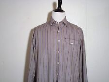 Tommy Bahama Brown Blue & White Striped Long Sleeve Pocket Large