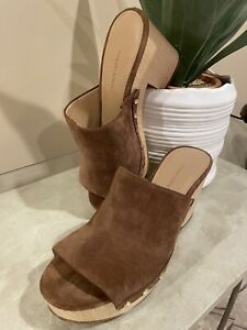 BANANA REPUBLIC CLOGS WOODEN sandals, mules, suede, whiskey, studs SZ 8.5