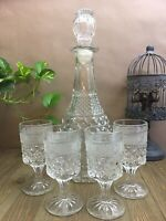 Anchor Hocking Wexford Decanter And Four (4) Claret Wine Glasses