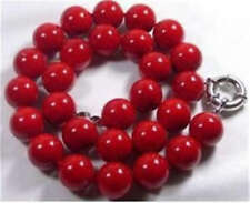 10mm Red Coral Gems Round Bead Necklace 18'' AAA (100% real )