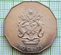 SOLOMON ISLANDS 1990 50 CENTS, COAT OF ARMS, UNC
