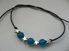 Karma string black tie on bracelet anklet 3 blue beads & stars karmastring