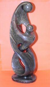 "Mother & Child Statue Carved Fruit Serpentine 13½"" African Zimbabwe Shona Art"