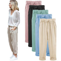Womens Loose Wide Leg Trousers Ladies Cotton Linen Baggy Harem Pants Plus Size
