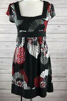 Wrapper short Sleeve women juniors size M Dress Black red white floral tie back