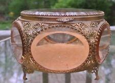 "Vintage Big  Beveled Pink Glass Jewelry Box,Casket, Brilliant Ormolu 4-3/4"" High"