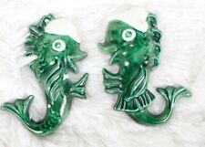 Pair of Vintage Ceramic Fish Wall Plaque Hanging for Mermaid Bath Decor Green