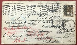 1917 Canada to England hospital, redirected multiple times 2c + 1c war tax stamp