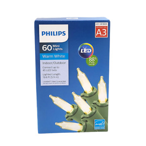 Philips LED 60 Count Mini Lights Warm White Indoor/Outdoor 19.6 ft NIB