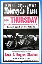 1940s Racers Vintage img Motorcycle Race Poster Print Hughes Stadium Sacramento