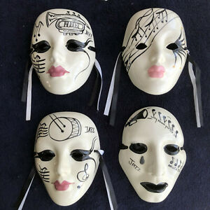*** Lof of 4 Vintage SIGNED MARDI GRAS Masks Music Jazz HAND-MADE UNIQUE RARE