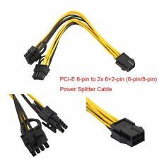 PCI-E 6-pin to 2x 6+2-pin (6-pin/8-pin) Power Splitter Cable PCIE PCI Express UK