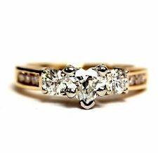 14k yellow gold 1.07ct heart diamond engagement ring band 4.2g vintage estate