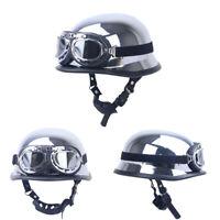 DOT Motorcycle Half Helmet German Skull Cap w/Goggles Chrome Silver Scooter M
