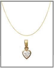 Collier Chaîne et Pendentif Petit Coeur De Cristal Plaqué Or 18 carats Bijoux