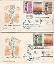 VATICANO BUSTE FDC CAPITOLIUM RACCOMANDATA 1962 PROPAGANDA VOCAZIONI SACERDOTALI