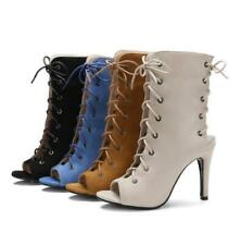 Womens Open Toe Lace Up Slingback Party Pumps Sandals Boots Stiletto Heels Shoes