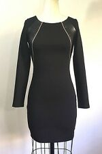 Bebe Long Sleeves Ponte Faux Leather Zipper Ponte Black Dress Size S