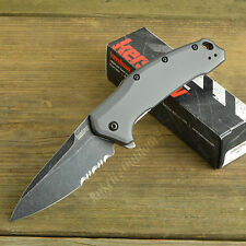 Kershaw Knives Link 420HC Part Serrated Gray Aluminum Handle Knife 1776GRYBWST