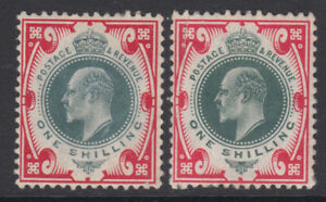 SG 259 1/- Dull/Deep Dull Green & Scarlet M46 (3/4) pair in average mounted mint
