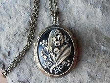 Black Cameo Locket-Antique Bronze, Vintage Look Lily Of The Valley Hand Painted