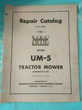 Original Minneapolis Moline Model Um-5 Tractor Mower Repair Parts Catalog R1053B