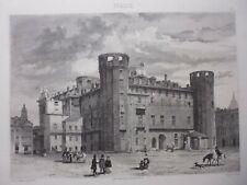 gravure  19°: Italie: château Delle Torri à Turin