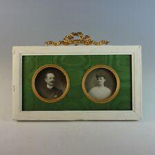 Antique French Miniature Double Bow Top Portrait Frame Bowtop