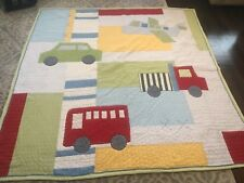 Pottery Barn Kids Airplane bus Truck Red Car Patchwork Twin Quilt