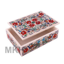 Marble Trinket Jewellery Box Marble Handicrafts Inlaid Jewelry Boxes Vintage Art
