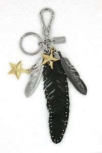 COACH Feather Gold Star Keychain Bag Charm Black Faux Leather Studs ~ NEW