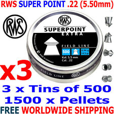 RWS SUPERPOINT EXTRA .22 5.50mm Airgun Pellets 3(tins)x500pcs (HUNTING PELLETS)
