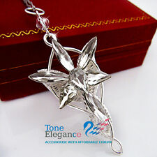 18k white gold GF Lord of the Rings Arwen Evenstar pendant solid Necklace