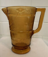 Antique Old Vintage EAPG Bryce Amber Glass Wooden Bucket Water Pitcher 1900s
