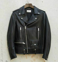MENS BLACK REAL LEATHER MOTORCYCLE JACKET VINTAGE SLIM FIT GENUINE LEATHER COAT