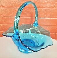 "Tiara Indiana Glass Blue Duchess 10"" Basket by J D"
