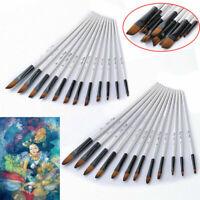 12Pcs Professional Artist Soft Paint Brush Set Oil Acrylic Watercolour Art