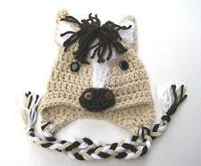 CROCHET HORSE BABY HAT infant toddler boy/girl adult brown cap beanie photo prop