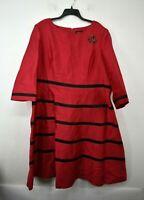 Giovanna Womens Boat Neck Long Sleeve Striped Decorative Brooch Midi Dress 24W