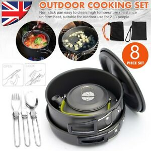 Portable Camping Cookware Kit Outdoor Picnic Hiking Cooking Equipment Pan Kettle